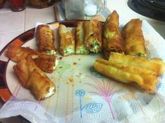 ::Texas egg rolls ::  1block of cream chesse  6 jalepenos un seeded finely chopped mix together  eggroll/ springroll wrapper spread out the cream cheese jalepeno mix on half roll it all up like a taquito 1/4 inch of oil in a fry pan cook all the way around till toasty brown  Don't forget to let them cool down  Enjoy :)  (Dipping Sauce)   4 tbsp. Honey  1/4 cp Seasoned Rice viniger   1-1/2 Chopped peppers