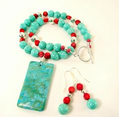 Turquoise and Red Coral Necklace and Earring Set