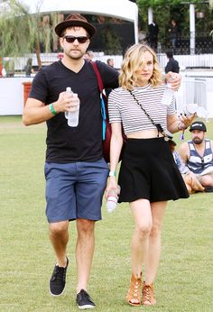 Diane Kruger in stripes and a mini skirt at Coachella Weekend 2 // #Fashion #StreetStyle