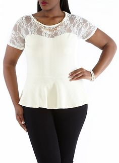 Plus-Size Peplum with Necklace... my my my i cant wait to get this shirt!