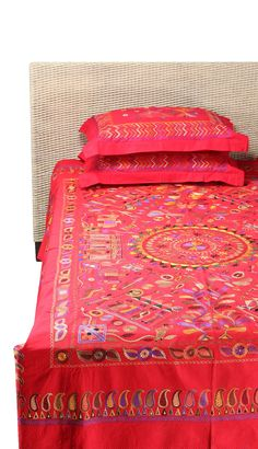 Red Nakshi Kantha Embroidered Cotton Bedcover