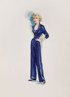 EDITH HEAD COSTUME SKETCH FOR CORRINE CALVET FROM ROPE OF SAND - (Paramount, 1949)