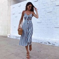 Find images and videos about fashion, style and outfit on We Heart It - the app to get lost in what you love. Sundress Outfit, Europe Outfits, Italy Outfits, Casual Work Outfits, Cute Outfits, Cute Dresses, Casual Dresses, Mode Top, Modest Wear