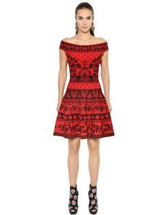 ALEXANDER MCQUEEN Off The Shoulder Flared Jacquard Dress, Red/Black. #alexandermcqueen #cloth #dresses