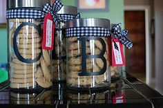 Cookie Jars via Random Thoughts of a Supermom Cute Teacher Gifts, Teacher Treats, Teacher Appreciation Gifts, Cute Gifts, Homemade Christmas Gifts, Homemade Gifts, Christmas Ideas, Homemade Cookies, Jar Gifts