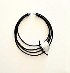 Black statement necklace Rubber plastic necklace Big multi