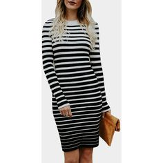 Yoins White & Black Stripe Pattern Crew Neck Long Sleeves Ribbed Midi... ($27) ❤ liked on Polyvore featuring dresses, white, black and white stripe dress, white black dress, long-sleeve midi dresses, body con dress and white bodycon dresses