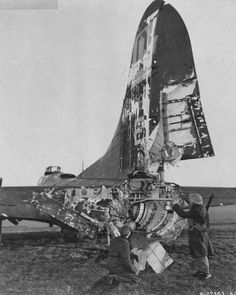The Flying Fortress was famous for its durability. This Hang the Expense, of the Bomber Squadron of the USAAF rests in an English airfield after being severely damaged by flak over Ostend on an aborted mission to Frankfurt, Germany, 24 January The tail… B 17, Ww2 Aircraft, Military Aircraft, Image Avion, Photo Avion, History Online, Ww2 Planes, Nose Art, World War Two