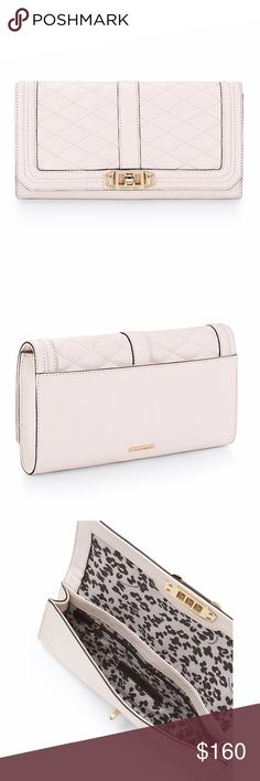 "Rebecca Minkoff Love Clutch Quilted and finished with gold hardware. Use as a crossbody or clutch for versatility.  23"" adjustable detachable gold chain shoulder strap.  Genuine quilted leather.  Flap closure with turn lock.  One exterior pocket.  Seven interior card slip pockets.  Print lining.  Comes with dust bag. Color is seashell which is an off white / pale, pale pinkish tint Rebecca Minkoff Bags Crossbody Bags"