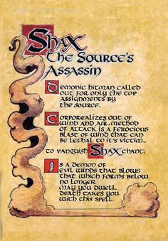 """Book of Shadows:  """"Shax, the Source's Assassin."""""""