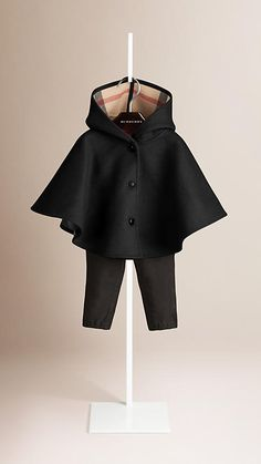 Black Check Detail Wool Hooded Cape - Image 1