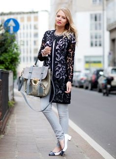 lace coat with jeans and cap toe shoes