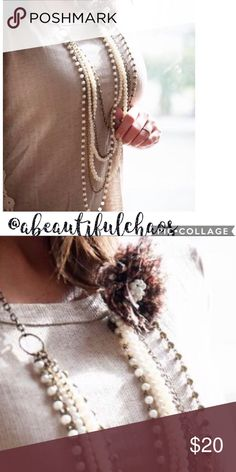 ViNtAgE MuLtI~LaYeReD NeCkLaCe Complete with pearls and a flower! This vintage piece is a super trendy must-have for all occasions! A BeAuTiFuL ChAoS Jewelry Necklaces