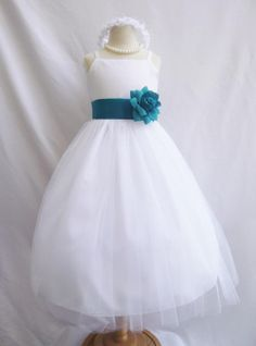 Hey, I found this really awesome Etsy listing at http://www.etsy.com/listing/159387851/flower-girl-dress-white-w-teal-rb2