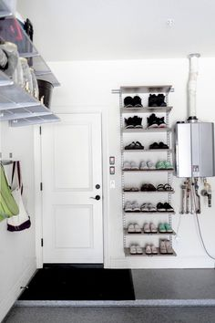 How to organize your garage. How to organize shoes in garage. How to organize your garage. How to organize shoes in garage. Garage Shoe Storage, Garage Organization Tips, Garage Storage Solutions, Shoe Storage Ideas For Garage, Shoe Storage For Garage, Garage Shelving, Garage House, Mud Room In Garage, Garage Laundry