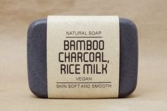 Bamboo charcoal soap mixed Rice milk, Vegan soap, Pine essential oil scent, Absorb toxins & other harmful substances, Scrub soap