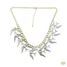 Retro style necklace with a row of swallow bird charms.  #fashion #indiafashion #onlinefashionindia #onlinefashion #onlineshoppingindia #onlineshopping #india #jewelry #necklace #trendy #chic  http://droppedpin.net/Store/necklaces-chains/1812-mig-bird-necklace.html