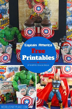 Create an Avengers Snack Stand with Marvel Chewy Granola Bars and Free Captain America Printables from Michelle's Party Plan-It - visit to grab an unforgettable cool Super Hero T-Shirt! Avengers Birthday, Superhero Birthday Party, 6th Birthday Parties, Boy Birthday, Birthday Ideas, Hulk Birthday, Captain America Party, Captain America Birthday, Mickey Halloween Party