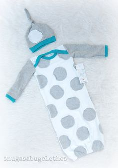 Unique Baby Boy Gown and Hat Infant Newborn Gift Set Gray and White Polka-Dot with Turquoise Trim on Etsy, $44.00