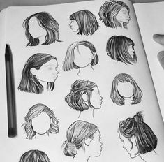 Fashion Drawing Techniques Paintings 53 Ideas For 2019 Art Drawings Sketches, Cool Drawings, Drawing Faces, Drawings Of Hair, Short Hair Drawing, Drawing Art, Pencil Drawings, Drawing Portraits, Drawing Quotes