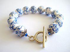 White Delfts blue ceramic bracelet Blue white by Linnepin010, €14.95