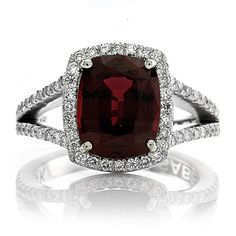 14kt White Gold Halo 10x8 Pigeon Blood Ruby Cushion Cut 2.75ct FSI1 Diamonds .75ct Engagement Ring Wedding Ring Cocktail Anniversary Ring on Etsy, $1,590.00