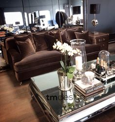 ALWINTON velvet sofa and amazing GLAM table from @tmdesignfurniture