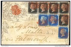 "The Famous ""Lady Louis"" Cover of Malta, 1841 (Jan 9 ), sent from  Bristol to Lady Louis in Malta , Auction, £ 40'000- £ 50'000."