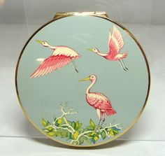 Vintage Stratton Pink Crane Enamel Compact