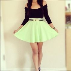 black strapless bow crop top with a mint green skater skirt tumblr - Google Search