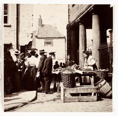 Whitby Market Place, North Yorkshire, c Frank Meadow Sutcliffe Victorian Photos, Antique Photos, Vintage Pictures, Vintage Photographs, Old Pictures, Old Photos, Whitby England, Yorkshire England, North Yorkshire