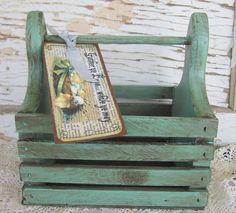 Primitive Easter Box Basket Aqua Toolbox by SweetLibertyBarn, $20.00