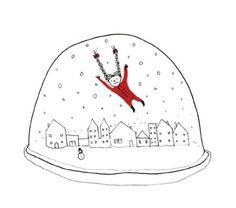 4x Illustrated Postcard Set  Snow Globe by heidiburton on Etsy, £8.00