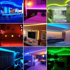 How to Make Your Home Amazing by LED Strips? Enjoy the picture from us Led Curtain Lights, Solar Wall Lights, Led Rope Lights, Rgb Led Strip Lights, Led Flood Lights, Led Light Strips, Led Ceiling Lights, Strip Lighting, Lighting Ideas