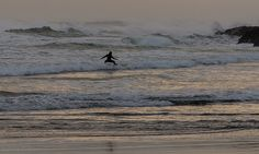 Evening surfer - South Piha.  Auckland, NZ. January 2014. (c)Mike Brebner. All rights reserved.