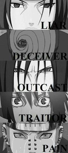 Itachi, Obito, Oruchimaru, Sasuke, Pain