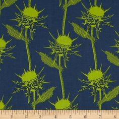 Anna Maria Horner Pretty Potent Mary Thistle Seaweed from @fabricdotcom  Designed by Anna Maria Horner for Free Spirit, this cotton print is perfect for quilting, apparel and home decor accents.  Colors include lime and slate blue.
