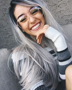 Zenith Grey Lace Front Wigs for Women Black Rooted Silver Grey Hair Wig Natural Weave Long¡ 4 Silver Ombre Hair, Brown Ombre Hair, Ombre Hair Color, Silver Wigs, Black Ombre, Color Streaks, Wig Hairstyles, Straight Hairstyles, Quick Hairstyles