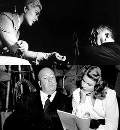 "Alfred Hitchcock and his leading ladies: Kim Novak and Ingrid Bergman.  """