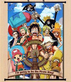 Hot Japan Anime One Piece Luffy Zoro Sanji Wall Scroll Home Decor 2130Cm 007