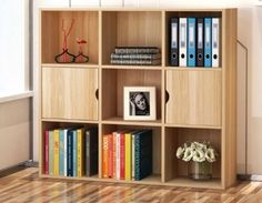 Bookcase-Display-Unit-Bookshelf-Cube-2-Doors-9-Shelves-Home-Office-Storage