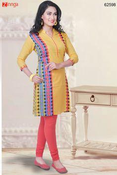 Yellow Color with Printed & Lace Work Incredible Readymade Kurti. Message/call/WhatsApp at +91-9246261661