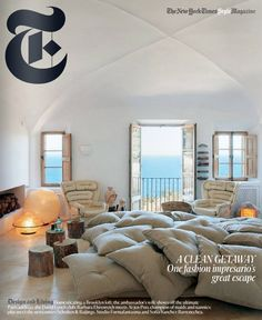 Alexandre de Betak's home in Majorca. - T Magazine My Living Room, Living Spaces, Alexandre De Betak, Pillow Room, Bed Room, House By The Sea, Home Upgrades, Magazine Design, Tv