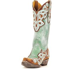 Women's Marrione Boot Brass/Aqua (€495) ❤ liked on Polyvore featuring shoes, boots, cowboy boots, aqua blue shoes, western boots shoes, cowboy style boots, western style boots and brass shoes