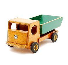 Wooden toy truck with green and yellow painted container with original metal wheels with rubber tires design Ko Verzuu ca.1935 executed by ADO Arbeid Door Onvolwaardigen Berg en Bosch / the Netherlands