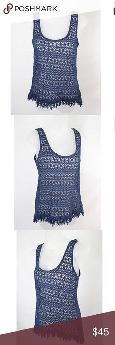 Anthropologie Sanctuary crochet knit blue tank NWOT Anthropologie Sanctuary Navy crochet knit tank top with fringe bottom. Never worn!!  65% cotton 35% polyester. Machine washable. Super cute for summer and perfect for a music festival! Anthropologie Tops