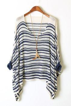 Cross Striped Loose Fit Sweater OASAP.com