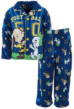 Peanuts Football Blue Pajamas for Boys Charlie Brown is the quarterback and Snoopy is the wide open receiver featured on these Peanuts brand pajamas for boys. The pajama top is printed with Charlie Brown and Snoopy playing football and the . Snoopy Pajamas, Boys Pajamas, Pajama Top, Pajama Pants, Little Boy Blue, Charlie Brown And Snoopy, Sweaters And Leggings, Blue Coats