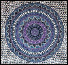 Purple/Blue/Black Elephant Mandala Tapestry 90 x 90 inch