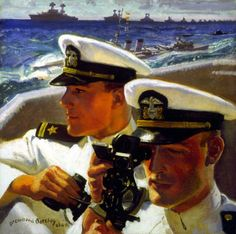 """""""Two Naval Officers Shooting the Sun"""", by McClelland Barclay (1941). The junior officer on the right is using a sextant to take a navigational reading, a task referred to aboard ship as """"shooting the sun."""" Before the days of global positioning, sailors used a sextant to measure the angle between the horizon and the noontime sun and thereby help determine latitude. The painting depicts a sun-drenched male ideal of refined, well-bred officers enjoying privilege."""